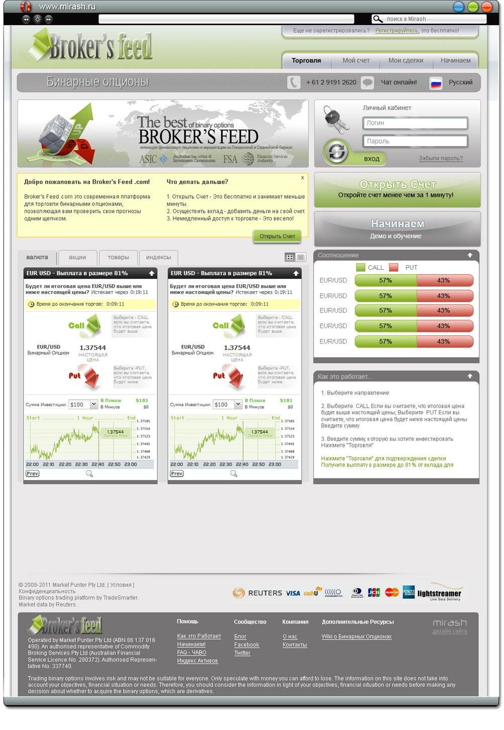 Веб-дизайн сайта Бинарные опционы для торговли на валютном рынке Форекс brokersfeed.com
